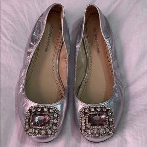 Adrienne Vittadini Silver Flats with Crystals